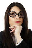 Unattractive woman wearing funny glasses — Stock Photo