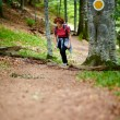Female tourist hiking in a mountain forest — Stock Photo #33515301