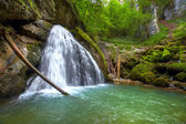 The beautiful Evantai waterfall from Galbenei Gorge — Stock Photo