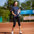 Tennis instructor teaching — Stok fotoğraf