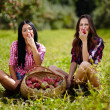 Beautiful women taking a bite of an apple — Stock Photo