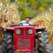 Old farmer driving the tractor in the cornfield — Stock Photo