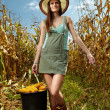 Womfarmer carrying bucket of corn cobs — Stockfoto #34769905