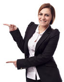 Businesswoman showing copyspace — Stock Photo