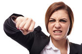 Angry businesswoman punching — Foto de Stock