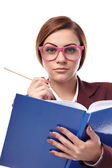 Severe teacher cheching the class book — Stock Photo