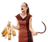 Crazy lady with reaping hok, screaming — Stock Photo