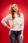 Beautiful blonde wearing jeans and shirt — Stock Photo