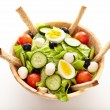 Fresh salad in a wooden bowl — Stock Photo #38045751