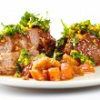Stock Photo: Slow cooked shin beef with orange gremolata