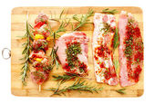 Spiced raw pork meat — Stock Photo
