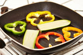 Fresh vegetables in the frying pan — Stock Photo