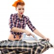 Stock Photo: Sexy housewife ironing