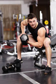 Athletic man working with heavy dumbbells at the gym — Stok fotoğraf