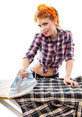 Sexy housewife ironing — Stock Photo