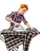 Sexy housewife ironing — Zdjęcie stockowe
