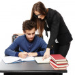 Teacher helping the student learn — Stock Photo
