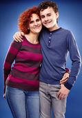 Happy mother and son embracing each other — Stock Photo