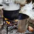 Cast-iron pot with boiling water — Stok fotoğraf