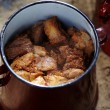 Stock Photo: Pork chunks in pot
