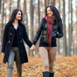 Two happy girlfriends walking in the woods while holding hands — Stock Photo