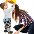 "Mother playing with her son ""construction worker"" — Stock Photo"