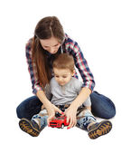 Playing with toy car — Stock Photo