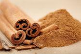 Cinnamon rolls and powder — Stock Photo