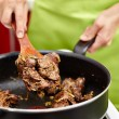 Stock Photo: Preparing fried chicken liver with onions