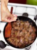 Seasoning chicken liver roast — Stock Photo
