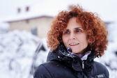 Redhead woman, winter portrait — Stock Photo