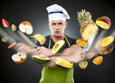 Fast cook slicing vegetables in mid-air — Stock Photo