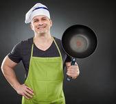 Wok ile pişirmek — Stok fotoğraf