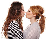 Two playful girlfriends hugging and kissing each other  — Stock Photo
