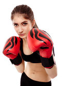 Lady boxer with gloves — Stock Photo