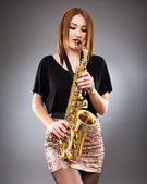 Saxophone player closeup — Stock Photo