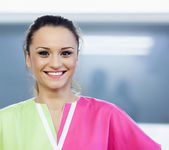 Cheerful woman doctor at office — Stock Photo