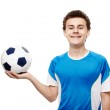 Teenager soccer player holding the ball — Stock Photo #46318515