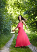 Young woman dancing outdoor — Stock Photo