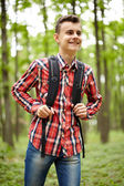 Teenager boy with school bag — Stock Photo