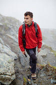 Teenage hiker on mountain — Stock Photo