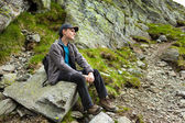 Teenage hiker having a break — Stock Photo