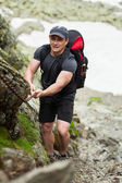 Climber with backpack — Stock Photo