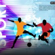 Stock Vector: Soccer players on abstract background