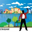 Young businessman with city background — Stock Vector