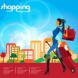 Woman's fashion and shopping - Stock Vector