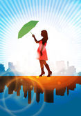 Fashion woman with umbrella — Stock Vector