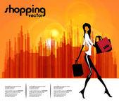 Kadının moda ve alışveriş — Stok Vektör