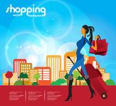 Женская мода и шоппинг — Cтоковый вектор