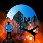 siluetas de break-dance — Vector de stock